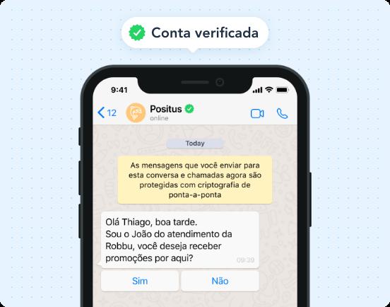 Obtenha uma conta comercial oficial do WhatsApp